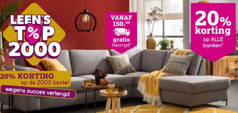 20% korting op 2000 meubels bij Leen Bakker