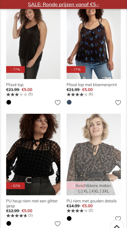 Sale 'Ronde prijzen v.a. €5,-' @ MS Mode