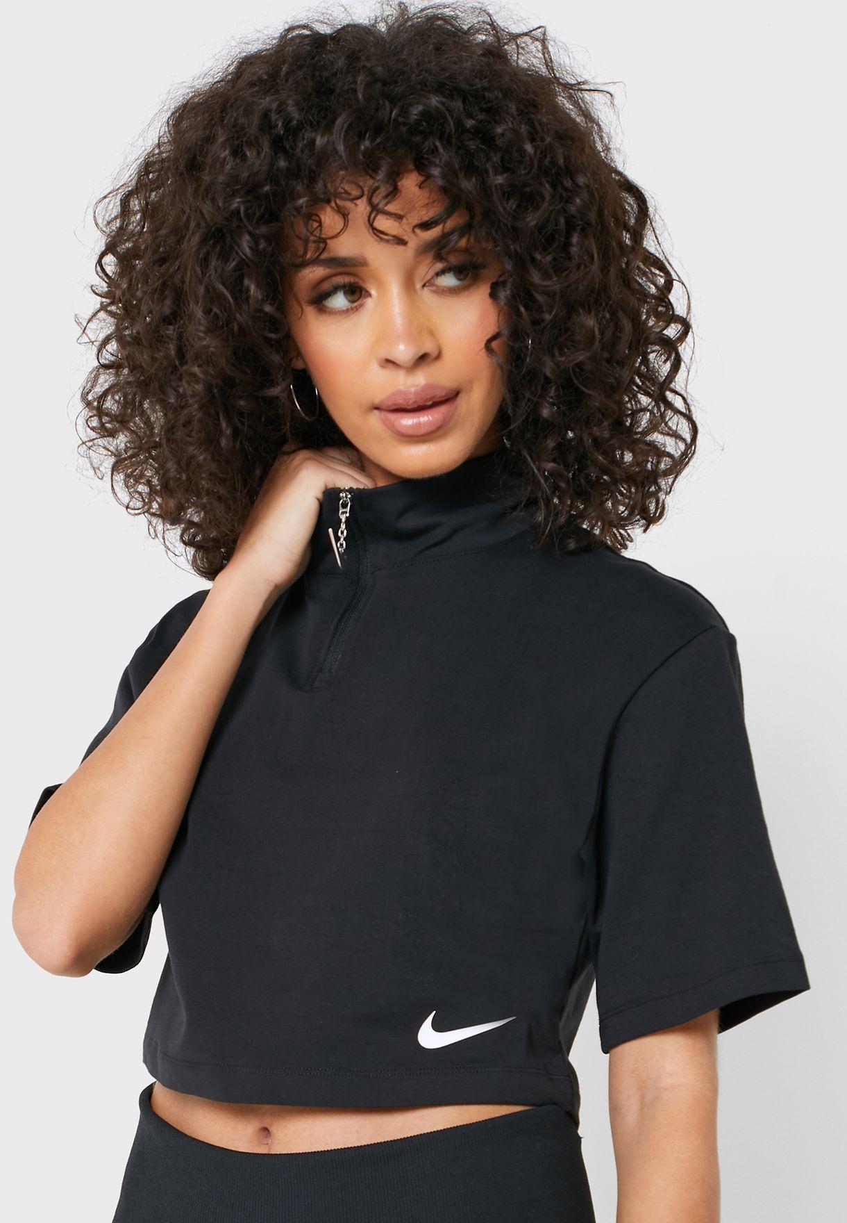 Nike Sportswear Swoosh crop t-shirt (grijs en zwart)