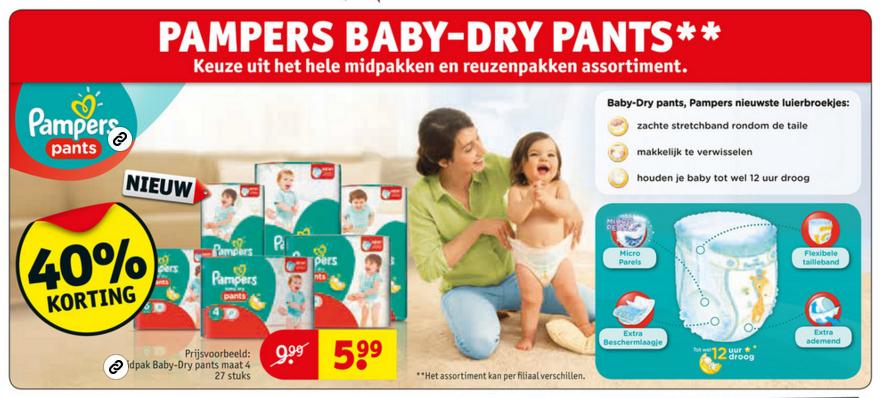 40% korting op Pampers Baby-Dry pants @ Kruidvat