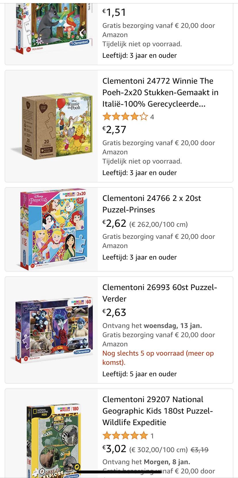 Clementoni Kinderpuzzels voor kleine prijsjes @ Amazon NL