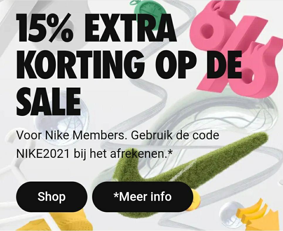 15% korting bovenop de sale @ Nike