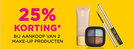 25% korting bij 2 make-up producten + €5 extra korting (min €25) @ Ici Paris XL