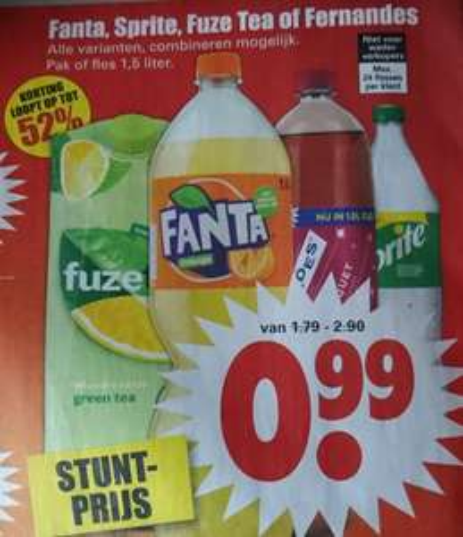 Fanta, Sprite, Fuze Tea of Fernandez bij Dirk