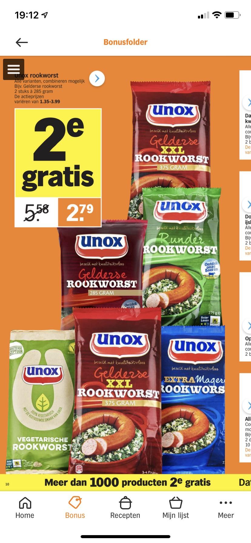 Unox rookworst 1+1 gratis | Albert Heijn
