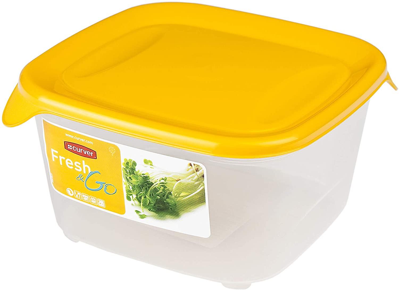 CURVER Fresh & Go vierkant, 0,8 l, transparant en oranje, 13,5 x 13,5 x 3,5 cm