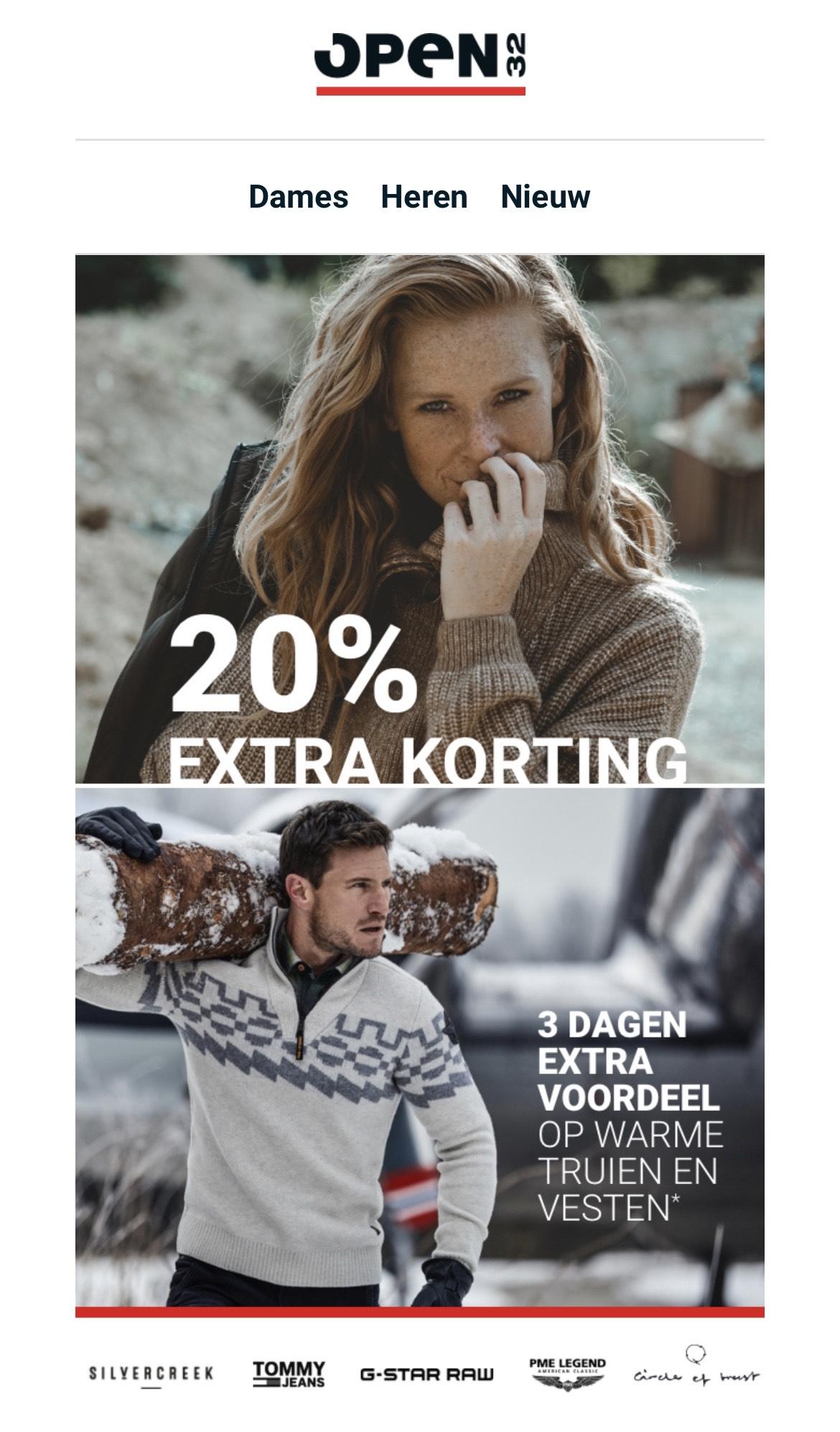 20% extra korting op afgeprijsde truien en vesten bij Open32