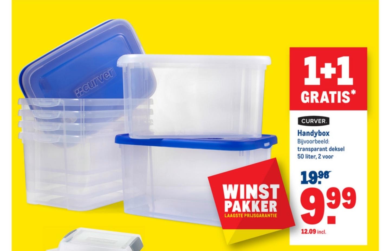 1+1 gratis op Curver de handybox 50L inclusief deksel