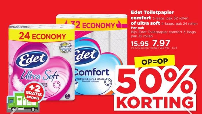 Bij de Plus: Edet toiletpapier grootverpakking 32 rollen met 50% korting.