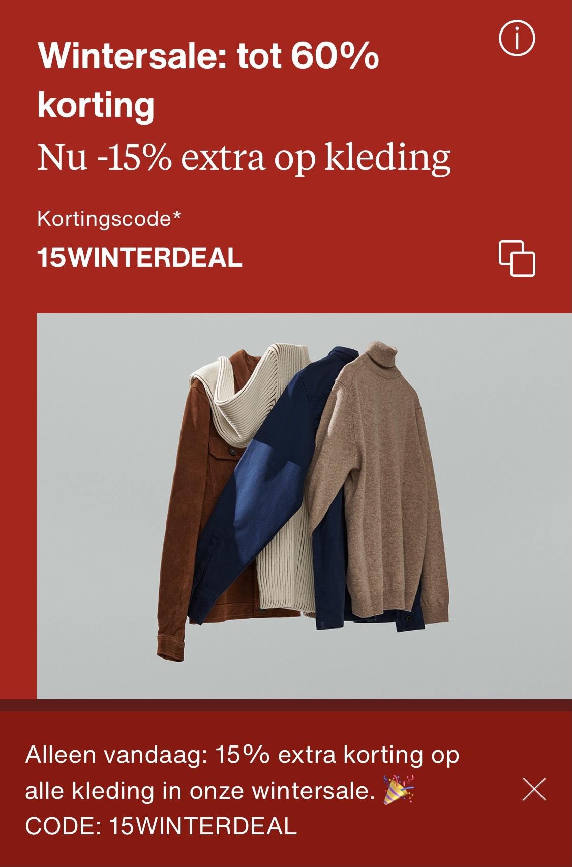15% extra op alle kleding wintersale