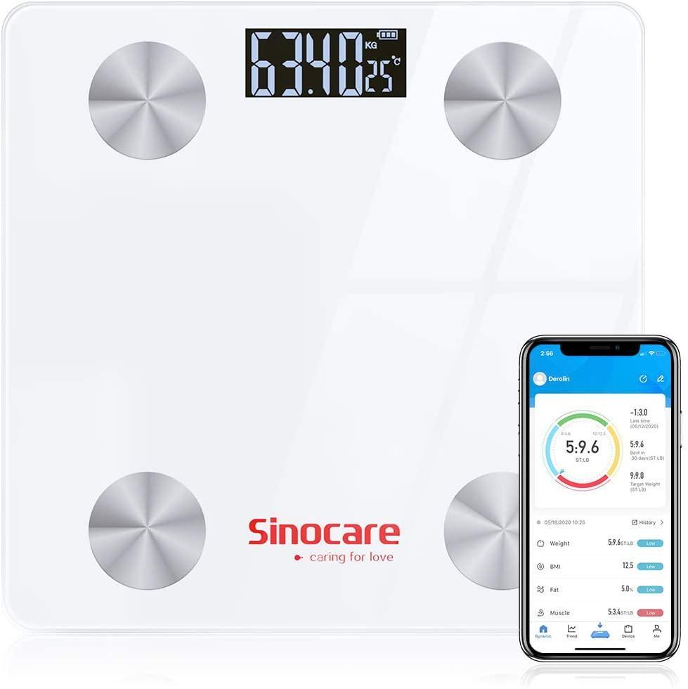 Sinocare slimme weegschaal met app. Meet 12 lichaamskenmerken
