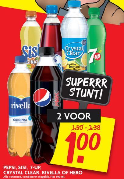 Pepsi, Sisi, 7-up, Crystal Clear, Rivella of Hero 500ml - 2 stuks € 1,00