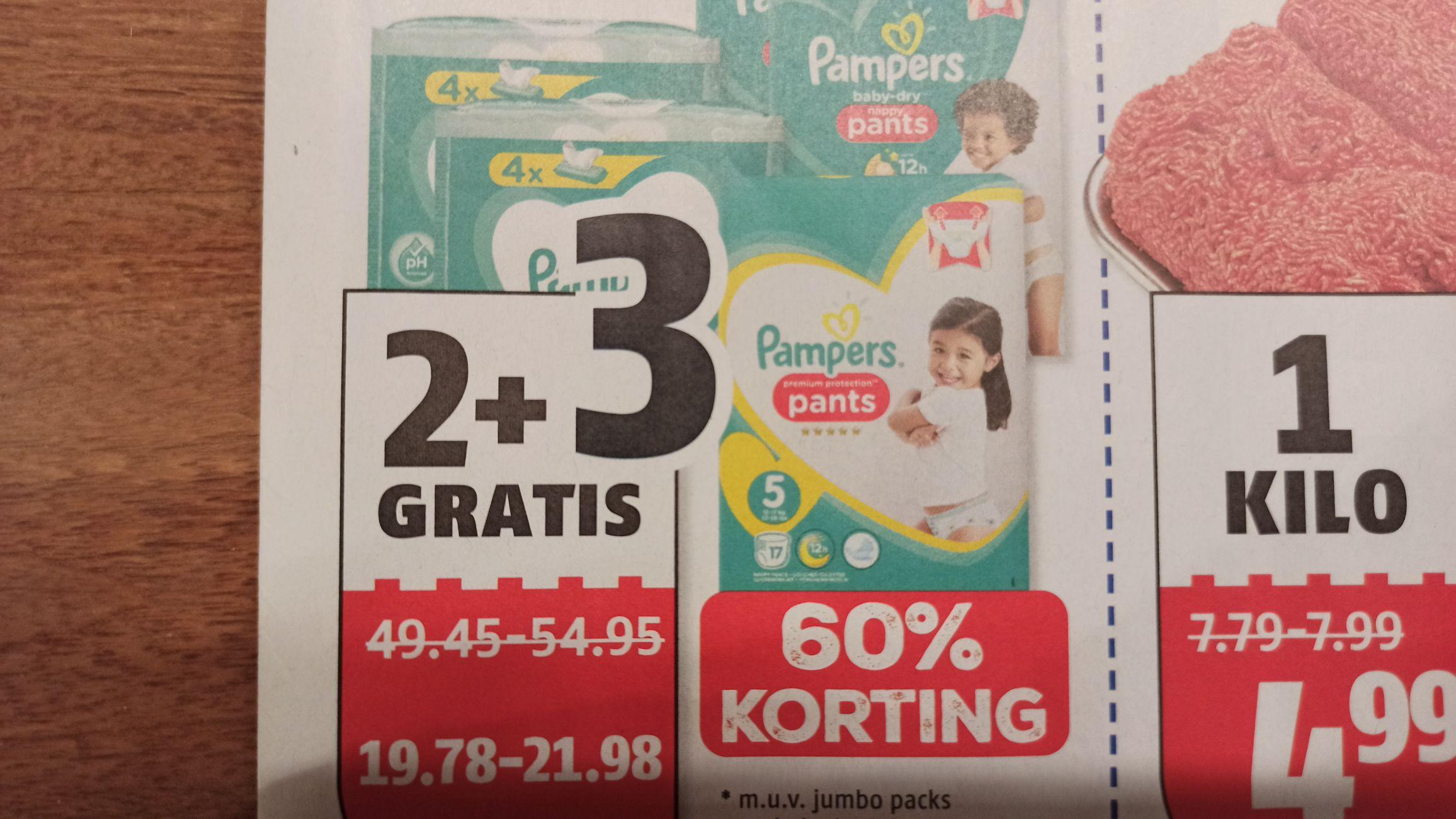 Pampers 2+3 gratis (60% korting) @Poiesz
