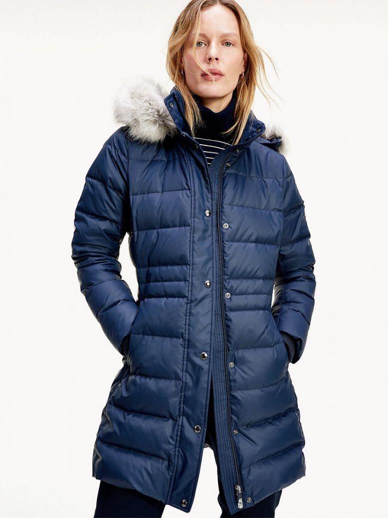 Tommy Hilfiger - Gevoerde lange donkerblauwe winterjas