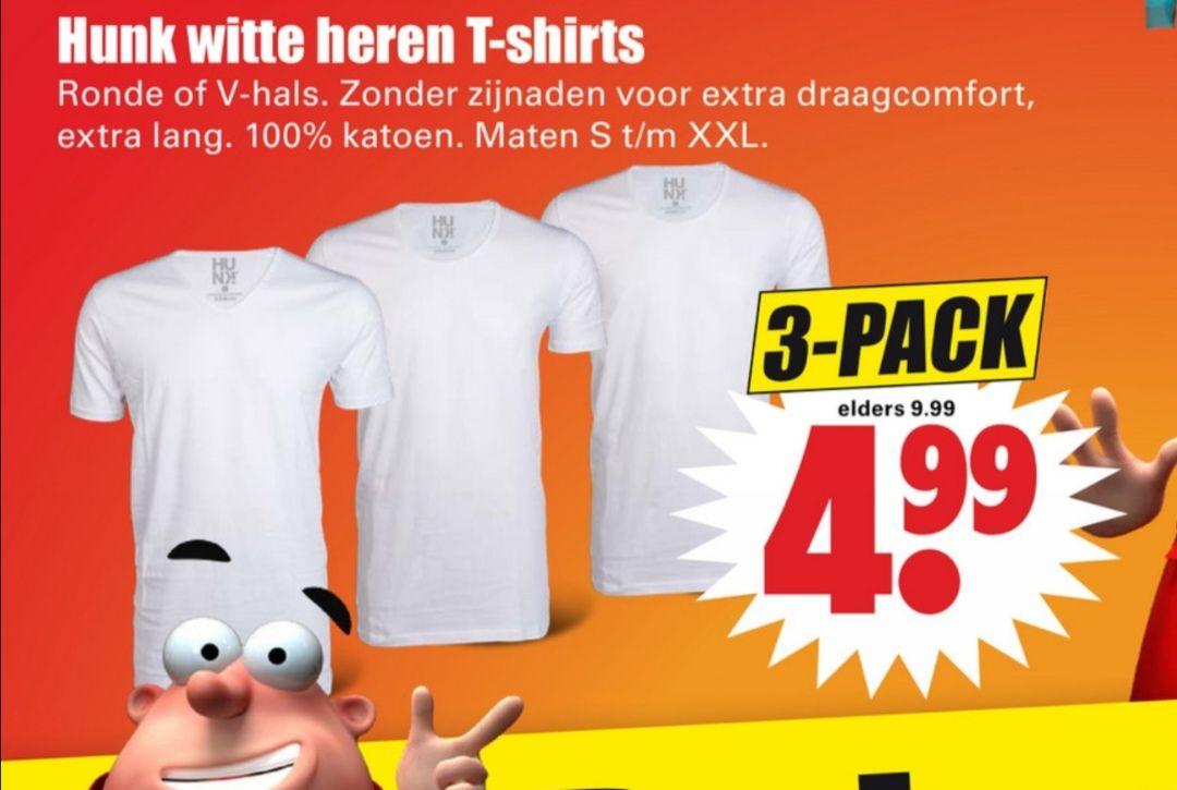 Hunk witte heren T-shirts - 3 stuks @ Dirk