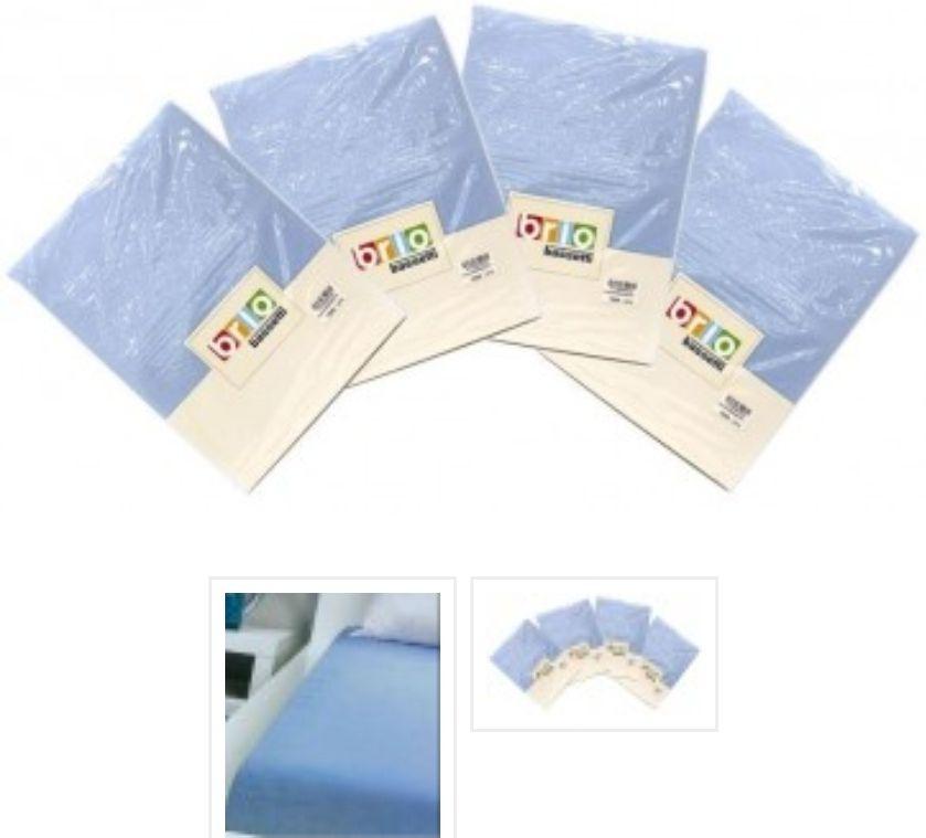 4-Pack Brio Bassetti - Hoeslaken 100 % Jersey Katoen Blauw 90/100 X 190/200