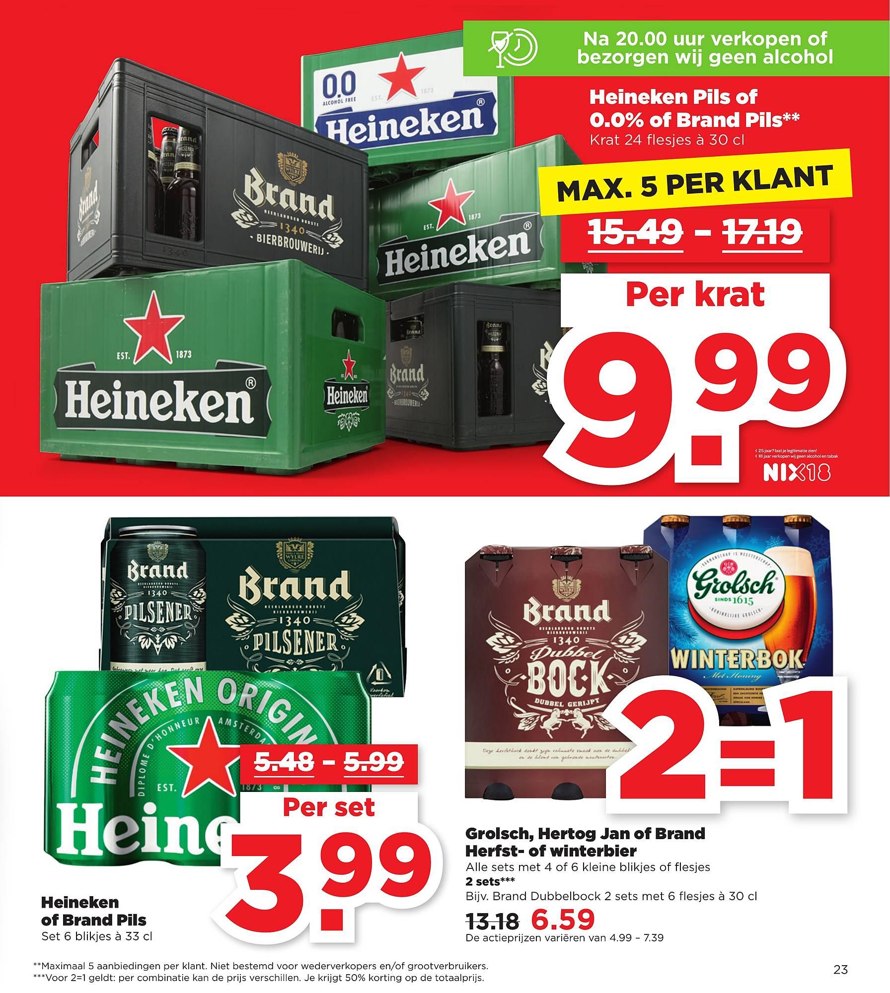 Grolsch, Hertog Jan en Brand Herfst- en Winterbier 2=1 bij PLUS