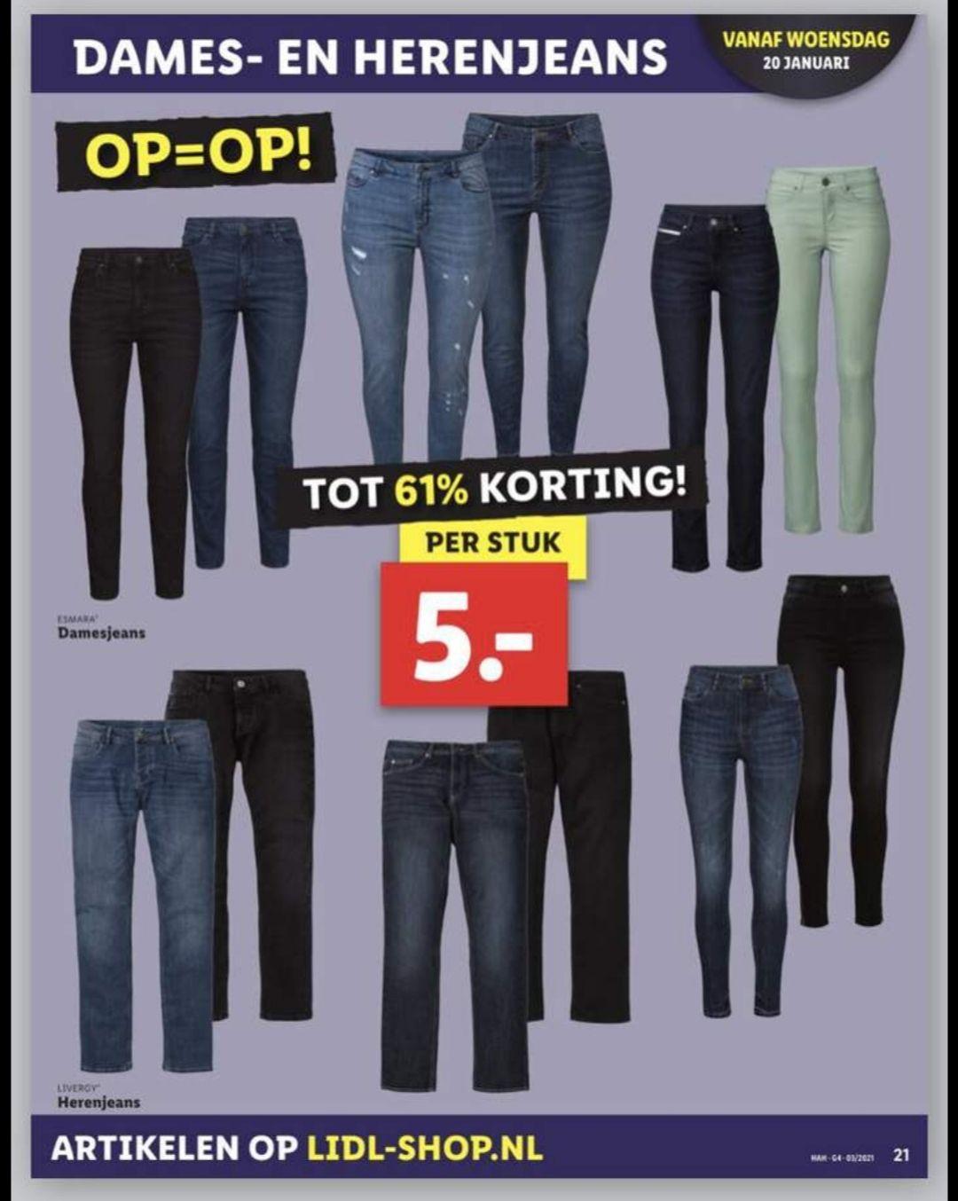 Dames en heren jeans voor €5,- bij Lidl v.a. woensdag 20 januari
