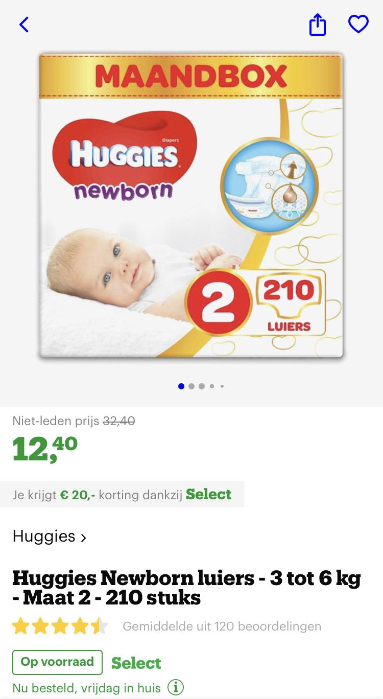 [select members] Huggies Newborn luiers - 3 tot 6 kg - Maat 2 - 210 stuks @ Bol.com