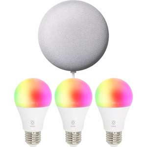 Woox sfeerverlichting Smart Bulb R4553 E27 3-PACK + Nest Mini @ BCC