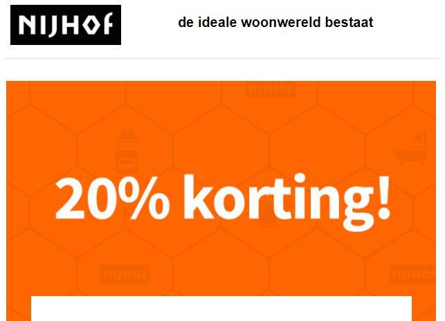 20% korting bij besteding € 100,- bij Nijhof Baarn! Ook bovenop sale! O.a. op Hue
