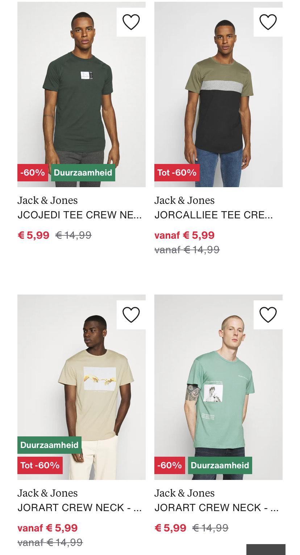 Veel Jack & Jones Herenshirts voor €6/€7 @ Zalando