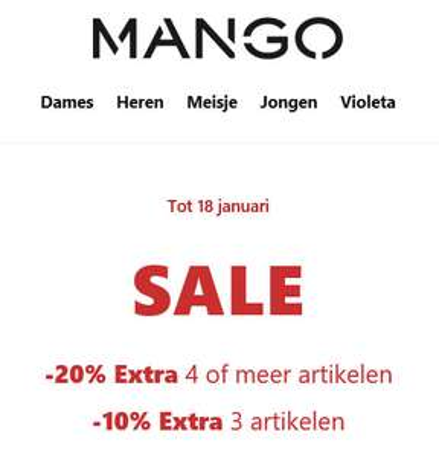 SALE tot -70% + 10-20% extra [va 3 / 4 artikelen] @ MANGO