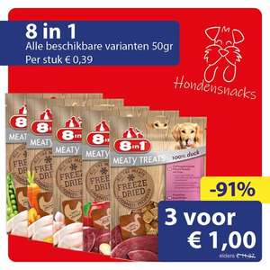 8in1 Meaty Treats hondensnacks 150g van €10 voor €1 @ Die Grenze