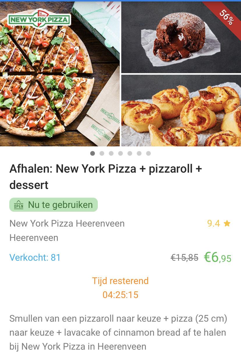 [LOKAAL] 25 cm NY Style pizza + pizzaroll + dessert bij New York Pizza