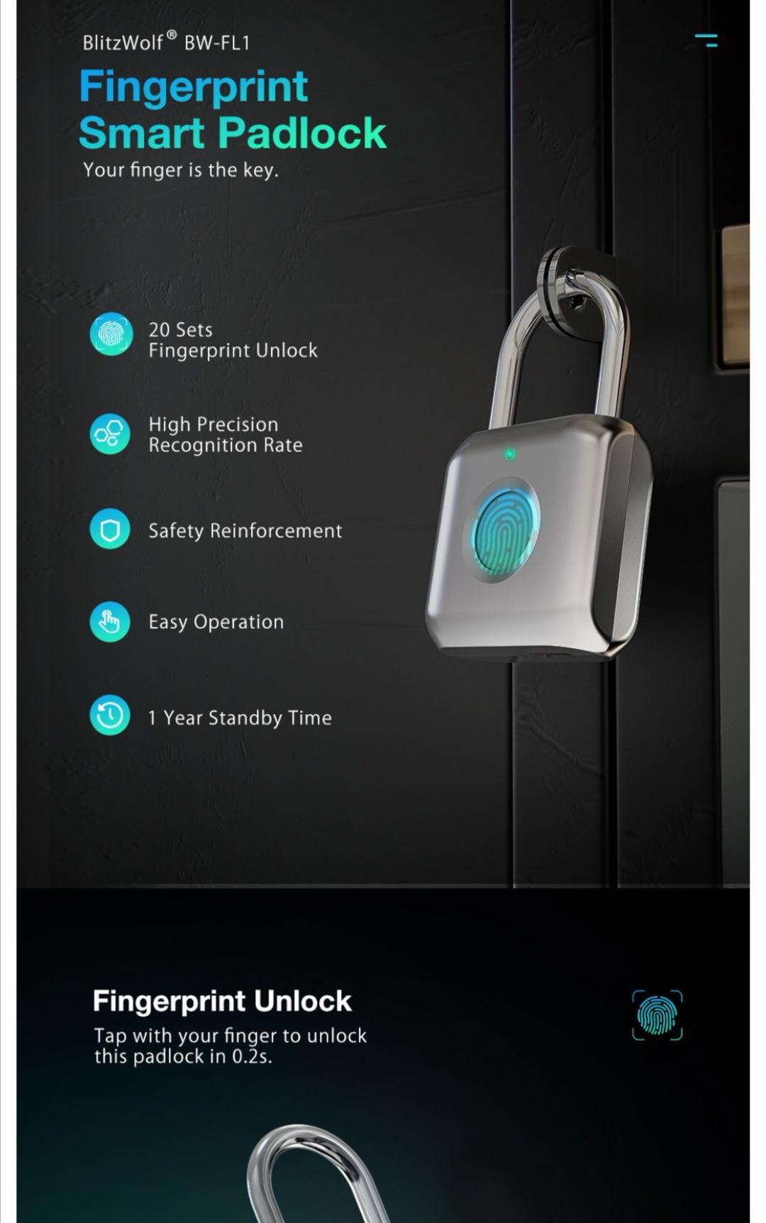BlitzWolf BW-FL1 waterproof Smart Lock Keyless