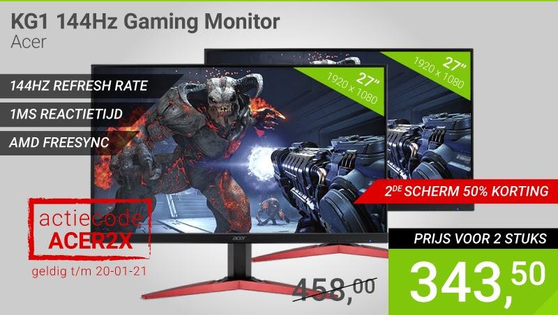 "2e monitor 50% korting - Acer KG271C 27"" Full-HD 144Hz 1ms Freesync Gaming monitor"