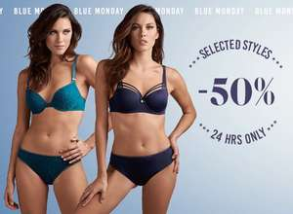 Blue Monday: 50% korting op blauwe lingerie en badmode
