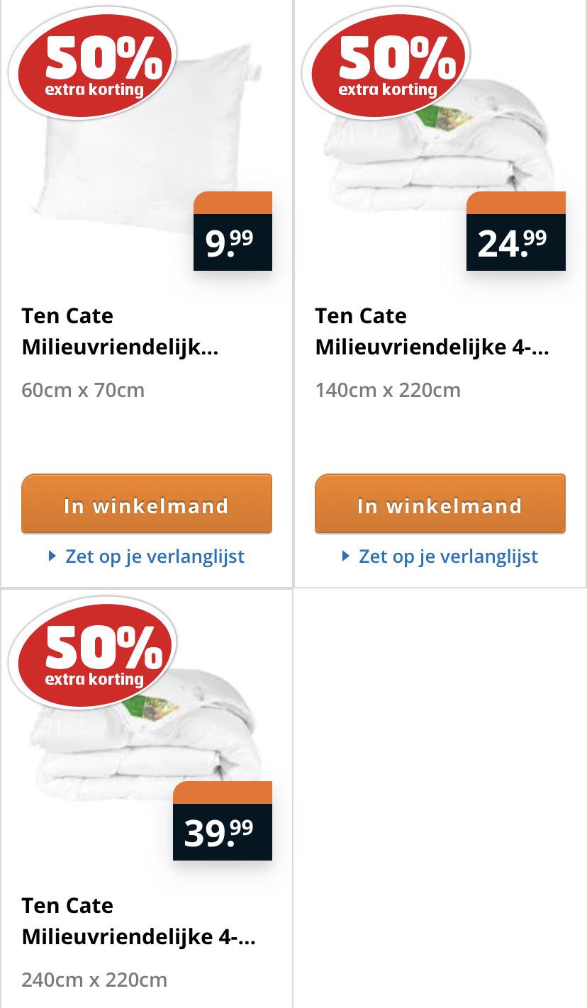 50% korting op Ten Cate Kussen & 4-seizoenen dekbedden @ Trekpleister