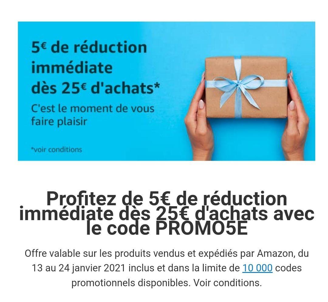 5 euro korting bij besteding van 25 euro, amazon fr