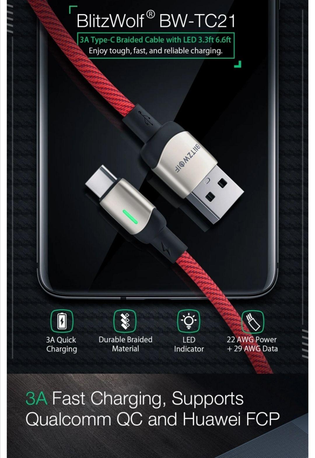 3 pack BlitzWolf® BW-TC21 USB C 3A kabel