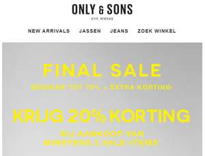 Sale tot -70% + 20% extra [va 3 items] @ Only & Sons