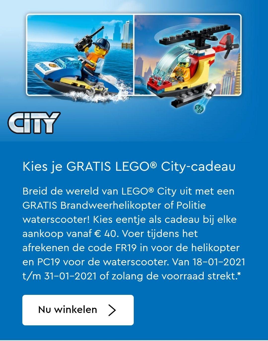 Gratis LEGO brandweerhelikopter of politiewaterscooter (bij besteding van €40)