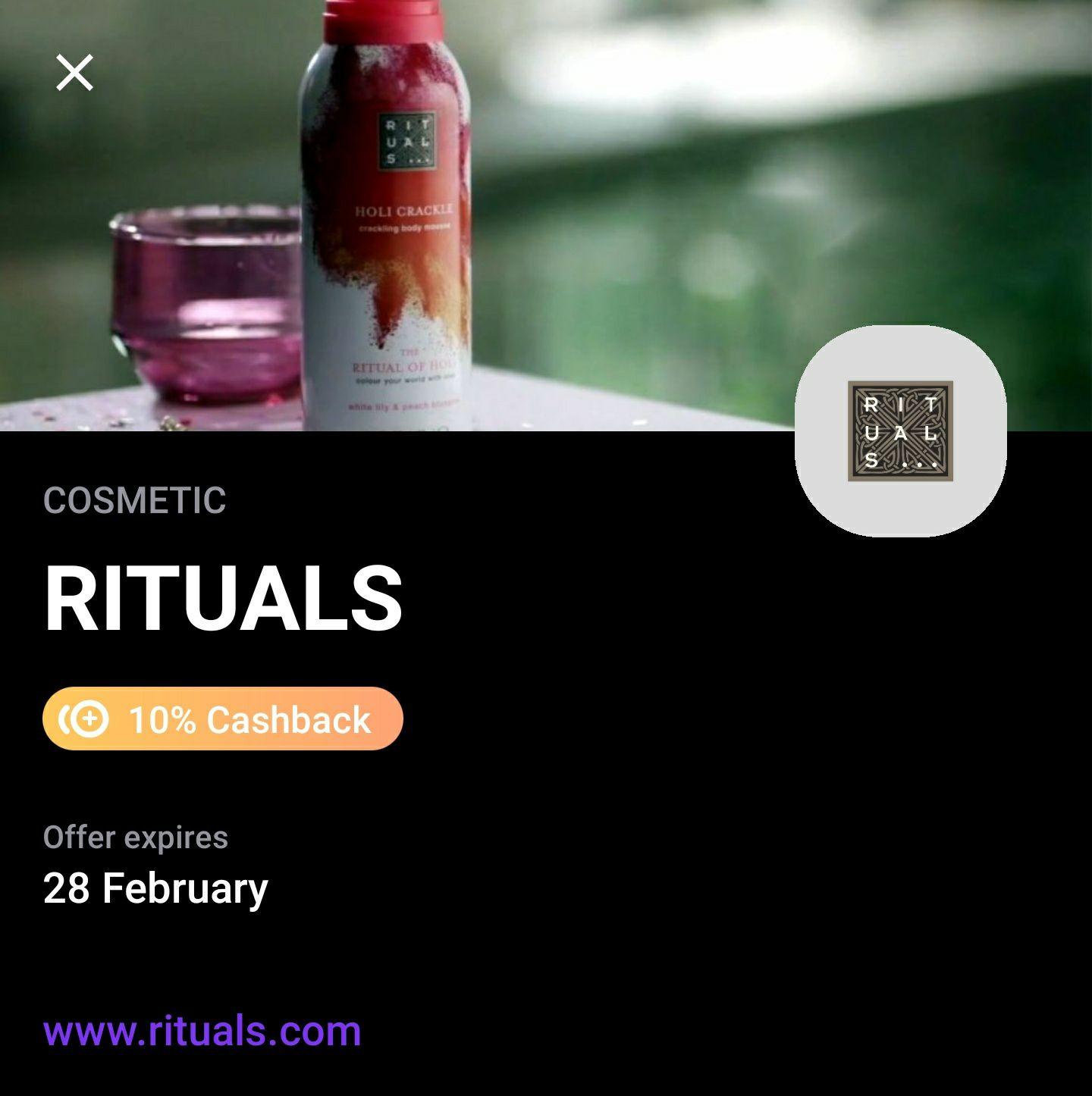 10% cashback bij Rituals & Otto via Vivid