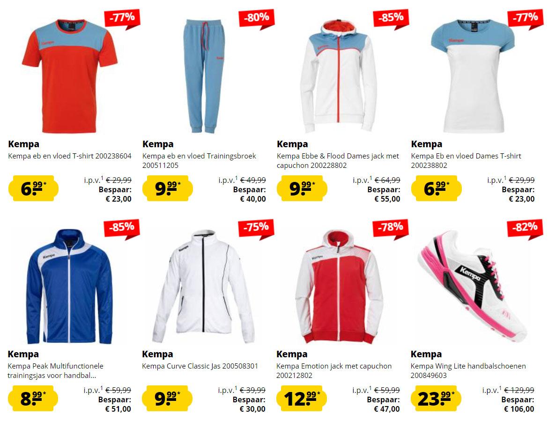 Kempa sportkleding / schoenen / accessoires tot -85% [vanaf €3,99]