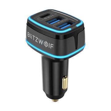Blitzwolf adapter voor auto (sigarettenaansteker) met 2 USB en 1 USB-C poort