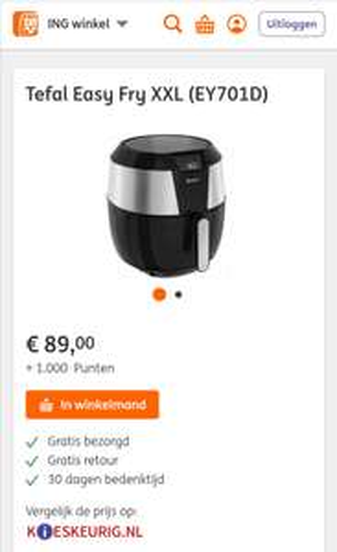 Tefal Easy Fry XXL (EY701D) €65 euro i.c.m. 1000 punten en cashback actie @ING