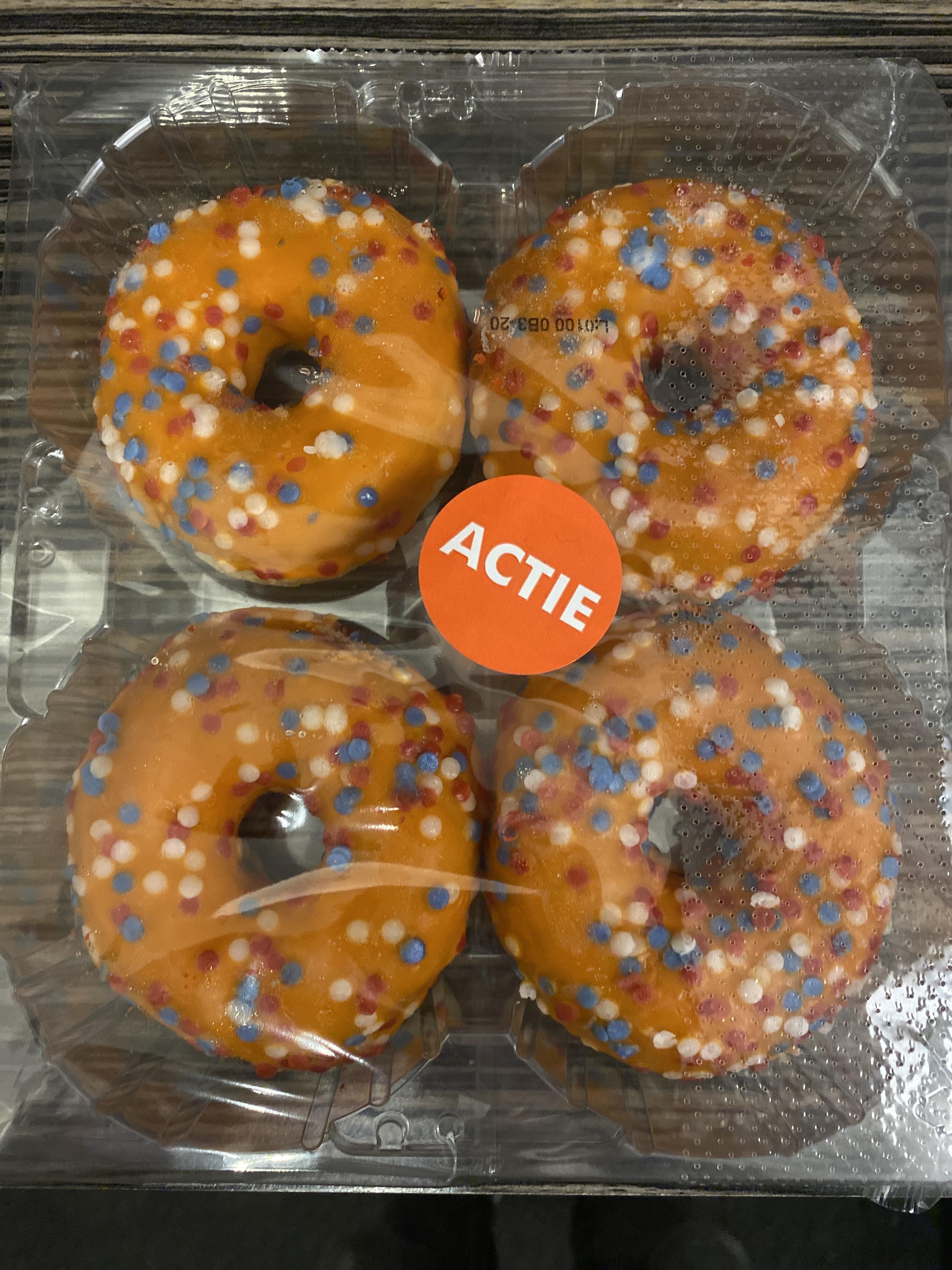 4-pack gedecoreerde Oranje donuts bij Dirk