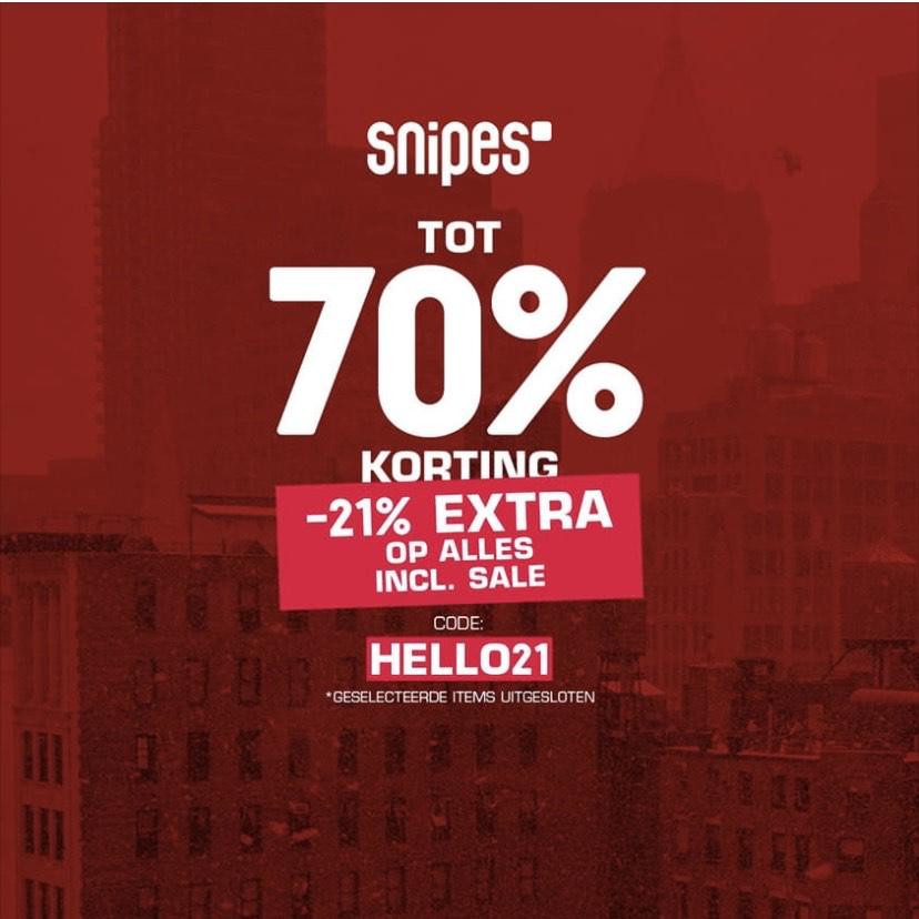Extra sale bij Snipes 21% korting met code