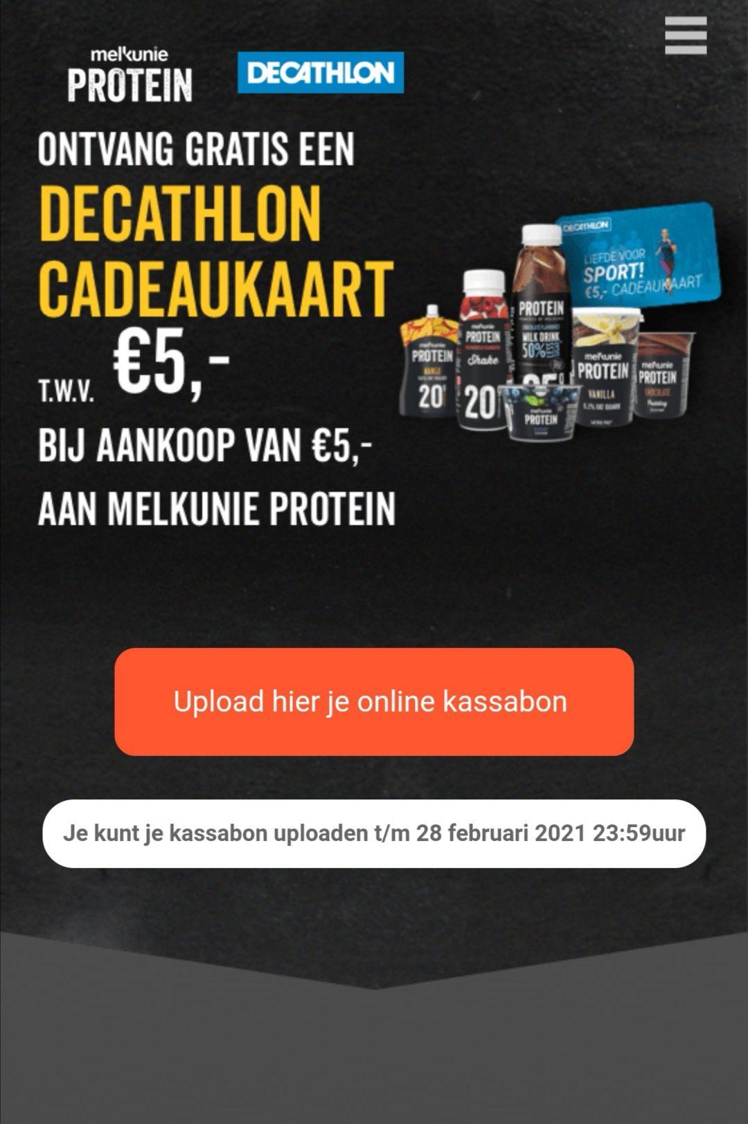 Decathlon cadeaukaart twv €5,- bij online aankoop van Melkunie Protein twv minimaal €5,-