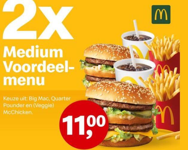 [McDonald's] [Alkmaar e.o.] 2x Voordeelmenu voor € 11,=