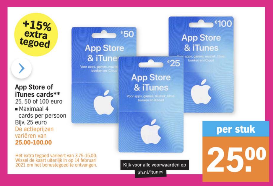 Albert Heijn 15% Extra waarde: App Store & iTunes Card €25-50-100