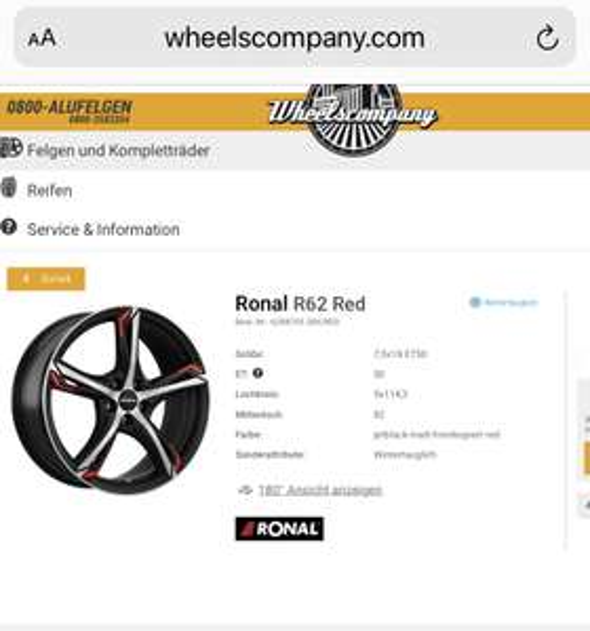 Ronal R62 Red velgen 18 inch