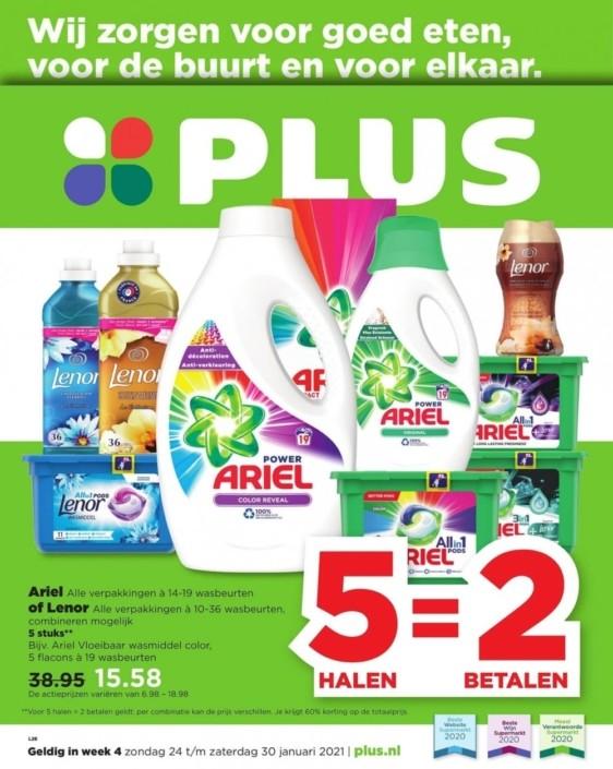 Ariel en Lenor 5 halen 2 betalen @plus