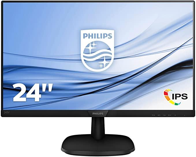 Philips 243V7QDSB/00 60 cm (23,8 inch) IPS monitor (VGA, DVI, HDMI, 5 ms reactietijd, 1920 x 1080, 60 Hz, zonder luidsprekers)
