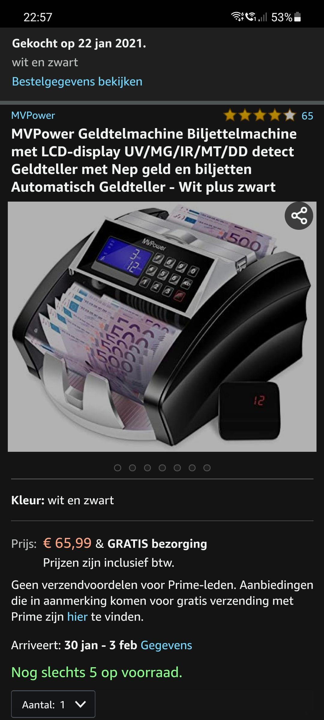 Geldtelmachine met valsgelddetector ingebouwd